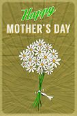 Retro poster with a posy of daisies and Happy Mother's Day greeting, on crumpled brown paper backgro