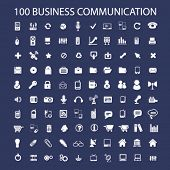 100 business communication, connection icons set, vector