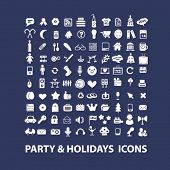 party & holidays icons set, vector