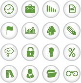 green website, business, office circle glossy buttons, icons set, vector