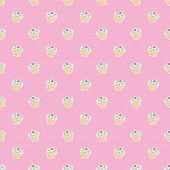 Seamless vector pattern or tile texture with little cupcakes, green hipster muffins, sweet cake