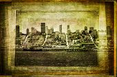 View Of San Francisco Skyline In Vintage Filtered Textured Style