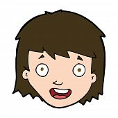 cartoon happy female face