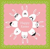 Happy Hipster Easter - set of stylish bunny/eggs icons.