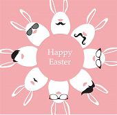 Happy Hipster Easter - set of stylish bunny/eggs icons