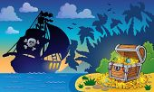 stock photo of treasure  - Pirate theme with treasure chest 6  - JPG