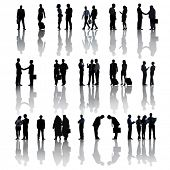 Multi-Ethnic Group Silhouettes Of Business People On White