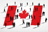 Canadian flag and a group of business people.