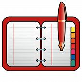 Address Book With Pen Red Illustration