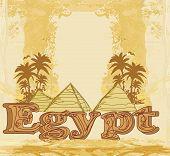 Vintage Frame With Pyramids Giza