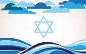 foto of israel israeli jew jewish  - abstract israel flag as sea and blue sky  - JPG