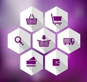 hexagonal icons for e-shop - Illustration