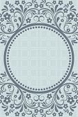 Abstract grey blue floral vintage card design with copy space.
