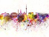 Stuttgart Skyline In Watercolor Background