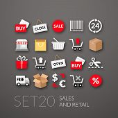 stock photo of barcode  - Flat icons set 20  - JPG
