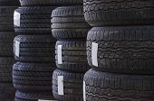 Used Old Car Tires At Workshop.