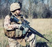 pic of assault-rifle  - US marine with assault rifle during the military operation - JPG
