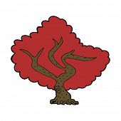 cartoon red tree