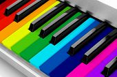 stock photo of rainbow piano  - Colorful piano keyboard close - JPG