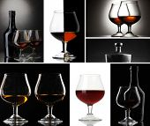 Collage of brandy glasses