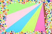 Confetti on colorful background