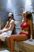 Couple in wellness spa steam bath