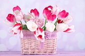 Beautiful tulips in wicker basket, on light background