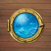 bathyscaph or submarine porthole underwater
