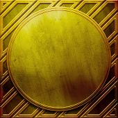 Golden metal round plate. Industrial background