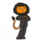 cartoon lion businessman