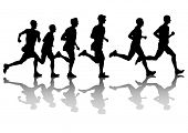 Silhouette of man athletes on running race