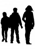 Silhouette of a mother and son on the walk