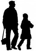 Silhouette father and daughter out for a walk