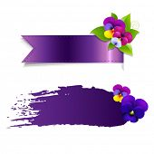 Blob And Ribbon Banner With Flowers