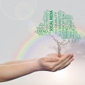 Concept or conceptual green tree media word cloud tagcloud in man or woman hand on rainbow sky backg