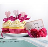Happy Mothers Day Aqua Blue Vintage Retro Shaby Chic Tray With Pink Cupcakes With Pink Hearts And Ri