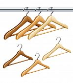 wooden coat hangers on the tube for wardrobe clothes. Rasterized illustration.