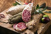 stock photo of deer meat  - salami - JPG