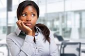 Thoughtful black businesswoman in the office