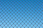 Chain Link Fence With Blue Sky