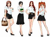 Thai College Student In Various Uniform Collection Set (vector)