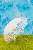 White lacy umbrella