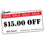 Fifteen Dollars Off Sale Coupon
