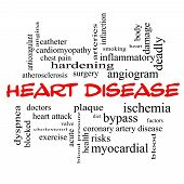 stock photo of angiogram  - Heart Disease Word Cloud Concept in red caps with great terms such as plaque ischemia factors and more - JPG