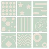 9 Retro different seamless patterns Vector illustration