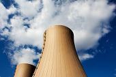 Cooling Towers Of Nuclear Power Plant Against Sky And Clouds