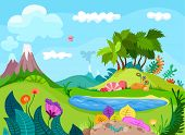 foto of jungle flowers  - vector illustration of a colorful nature background - JPG