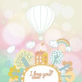 Summer concept illustration in vector. Cartoon house, trees, rainbow and balloon in cute vector background. Home concept card with bokeh effect