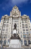 Royal Liver Building And Alfred Lewis Jones Memorial In Liverpool
