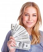 Portrait of cute happy girl holding in hand a lot american dollars, isolated on white background, sp